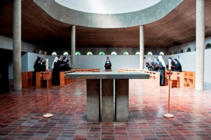 Church interior with nuns singing office - ThomasPaleyPhotographic